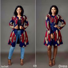 This beautiful piece by can be worn as a jacket or dress!👍🏼👍🏼👍🏼Which is your preferred style? African Fashion Ankara, African Inspired Fashion, Latest African Fashion Dresses, African Print Fashion, Short African Dresses, African Print Dresses, African Attire, African Outfits, African Clothes