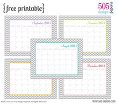 chevron printable calendars that you can TYPE IN special dates, appts, etc