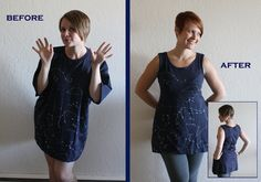 Tutorial for altering a big t-shirt into a cute fitted top. @Tally's Treasury