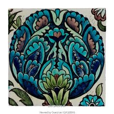 Flower head tile, by William De Morgan. London, England, 19th century