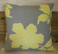 Yellow and grey floral indoor/outdoor decorative pillow cover, throw pillow, outdoor pillow