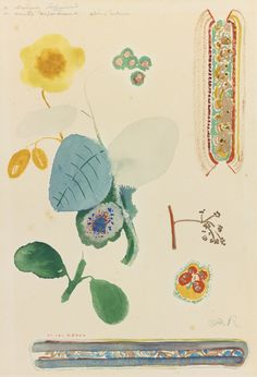 ODILON REDON (1840 - 1916)  FEUILLE D'ÉTUDE: BRANCHES FLEURIES, PAPILLON ET DÉCORATION  Signed Odilon Redon dedicated à Madame Sabouraud en amitié respectueuse. Odilon Redon   Watercolor on paper  24.8 x 17.1 cm  Executed circa 1905-10.