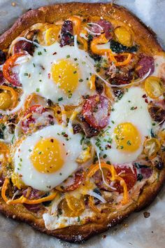 Supreme Breakfast Pizza (Top 33 Homemade Pizza Recipes) Pizza for breakfast doesn't have to mean cold leftovers – this easy 30-minute Supreme Breakfast Pizza recipe is built on a buttery crescent crust and is loaded with anything and everything your hungry morning belly can imagine! #pizza #breakfastrecipes #homemade