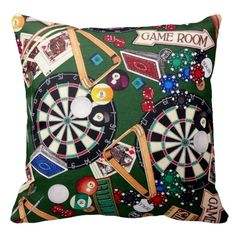 Game Room Darts Billiards Cards Throw Pillow -  Throw pillow featuring darts, billiards, & poker game images.           ... #custom #print on demand art themed #gift #mojo  throwpillow design by #BlueRose_Design - #mojo  #throwpillow #dartboard #billiards #games #mancave #men'sgames #playingcards #pokerchips #mensgames #fungames #gameroom