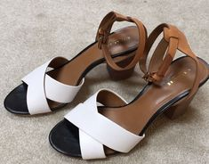 Coach White Tan Leather Block Heel Ankle Strap Sandals Shoes Size 8.5 B #Coach #AnkleStrap #Casual