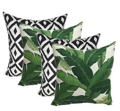 $70 From our Resort Spa Collection Set of 4 - 20 x 20 Decorative Throw Pillows - Indoor / Outdoor Tommy Bahama Swaying Palms - Aloe - Green Tropical Palm Leaf Print Fabric & Black and White Aztec Geometric Print Fabric - Pillows are filled with soft, premium, hypo-allergenic poly-fiberfill - New - Listing is for 4 (four) pillows (2 pillows in each fabric). Made with weather and wear resistant fabric. Water Resistant, Fade Resistant, Soil Resistant. Indoor / Outdoor Pillows can be