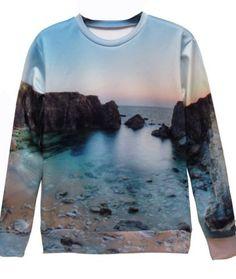 Beach Scene Crewneck Sweatshirt / Jumper
