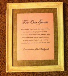 Bathroom Basket Sign for Wedding Guests