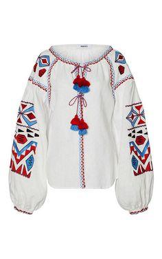 White March 11 style Vyshyvanka linen blouse red blue black embroidery. size XS-XXL VB0054-1