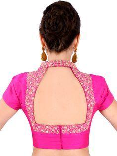 Buy Yosshita & Neha Pink Raw Silk Saree Blouse - Saree Blouse for Women 1143656 Blouse Back Neck Designs, Silk Saree Blouse Designs, Fancy Blouse Designs, Raw Silk Saree, Stylish Blouse Design, Designer Blouse Patterns, Boutique, Blouses For Women, Sarees
