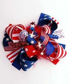 Love this Red, White & Blue Little Miss Fourth of July Funky & Fun Hair Bow on #zulily! #zulilyfinds