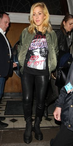 10 Celebrities Prove the Army Green Bomber Jacket Is the Season's New Must-Have - Ellie Goulding  - from InStyle.com
