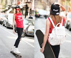 Puma Shoes, Rag & Bone Black Jeans, The Warpaint Agency Rad Hat, Topshop White Snakeskin Pattern Backpack, Vintage Coca Cola Tee