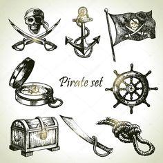 Conjunto de piratas. mão ilustrações desenhadas