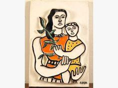 Fernand LEGER. 'La Mère et l'enfant'. Plaque en céramique polychrom... en vente aux enchères à Toulouse à la salle des ventes Primardeco (31)