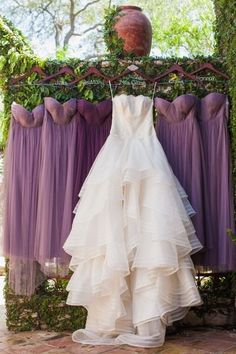 Shannon and Ryan's Wedding in Fischer, Texas Purple wedding dress idea – floor-length, chiffon bridesmaid dresses with varying necklines by Jenny Yoo {Jennifer Weems Photography} Wisteria Wedding, Plum Wedding, Wedding Colors, Wedding Gowns, Dream Wedding, Wedding Day, Wedding Dress With Purple, Purple Wedding Themes, Wedding Vendors