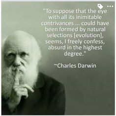 Charles Darwin admits that evolution just for the eye alone is absurd. And if it's absurd for the complex eye, obviously it's absurd for the entire complex body with all of its complex parts. Human Nature Quotes, Great Quotes, Inspirational Quotes, Amazing Quotes, Christian Apologetics, Bible Truth, Atheism, People Quotes, Quotable Quotes