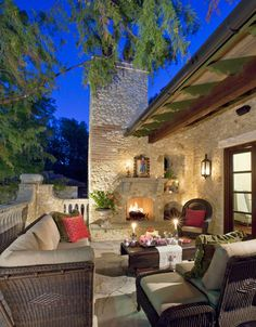 European feel outside of Austin, Tx. Chas Architects.  like the brick & stone on the fireplace