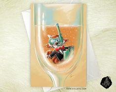 Carte de voeux Noël Nouvel An Panda roux et champagne Mariage Félicitations