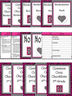 Common Core Standards Checklists - ALL K-5. Beautiful Zebra, Pearl, Houndstooth, Pink, Black, and White Theme. This 142-page Common Core Checklist file includes ALL Reading, ELA, and Math Standards for K-5. I have included 2 choices of ALL cover pages so you can decide what combination you would like to use in your plan books. Includes a Notes page for adding activities, technology, vocabulary, and assessments for each standard. Come check it out!!!