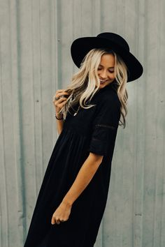 Black Spring Dress with Embroidery | ROOLEE #ROOLEEfave