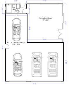 I need to remove my car tandem garage and add that space into the recreation room adjacent. It's a single story Garage Plans With Loft, Plan Garage, Carport Garage, Garage House Plans, Garage Ideas, Detached Garage Plans, Carport Ideas, Garage Apartment Plans, Garage Apartments