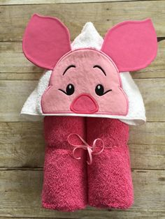 "Silly Shy Little Pig Applique Hooded Bath, Beach Towel 30"" x 54"" by MommysCraftCreations on Etsy"