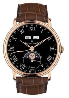 6639-3637-55B Blancpain Villeret Moon Phase Moon Phase Complete Calendar '8 Jours' - швейцарские часы наручные, черные, золотые