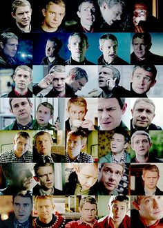 "The many faces of John Watson. I love how most of them are in reaction to sherlock like ""what u doin' mate. No.'"