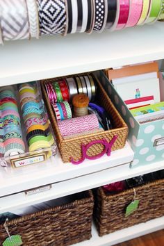 IHeart Organizing: DIY Gift Wrap Organization Station Baskets with tags