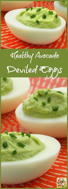 Looking for a green party appetizer for St. Patrick's Day? Make these easy and Healthy Avocado Deviled Eggs! They're also perfect for a Dr. Seuss Party, Christmas parties, or to bring to potlucks.