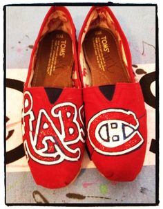 These are amazing, I want them Montreal Canadiens, Hockey Shoes, Toms One For One, Hand Painted Toms, Decoupage, Toms Shoes Outlet, Discount Toms, Leopard Prints