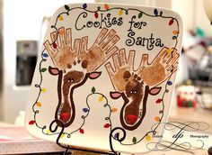 Santa cookie plate ~ I take a pic of my kids with this every year with the cookies we leave for Santa!