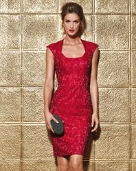 I want! Lady In Red: This season, go for a cocktail dress in crimson red brocade. Keep the look sleek and chic by skipping the accessories.