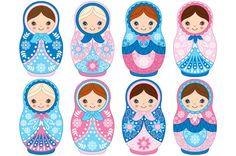 Vector Winter Matryoshka Set by Tanita_B on @creativemarket