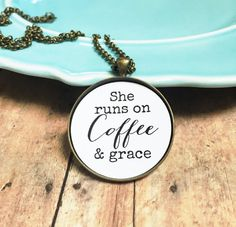 Coffee NecklaceShe Runs on Coffee and GraceChristian by MinMac