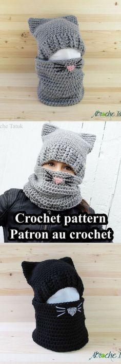 Cat hat crochet pattern. So cute and warm! #crochethats
