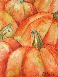 Pumpkins Watercolor Artist Trading Card by Marleyart on Etsy,