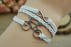 Bicycle bracelet Infinity bracelet  White wax rope by GiftShow, $1.99 Beautiful handmade bracelet,Christmas gifts
