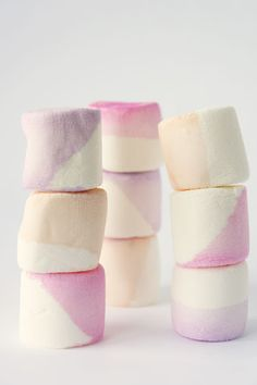 Color-dipped marshmallows - just water and a drop of food coloring and a quick dip!
