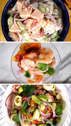 Confira a receita de 3 Tipos de Ceviche do Tastemade Brasil [Vídeo] Octopus Recipes, Fish Recipes, Seafood Recipes, Mexican Food Recipes, Soup Recipes, Cooking Recipes, Healthy Recipes, Mexican Desserts, Freezer Recipes