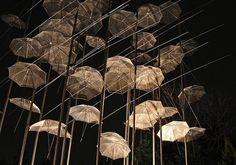 Umbrella installation in Greece