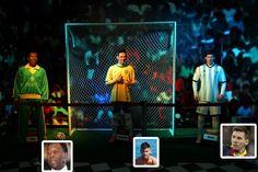 A sala de esportes do Museu de Cera de Foz de Iguaçu abriga réplicas de jogadores como Pelé, Neymar e o argentino Messi.  Fotografia: Eduardo Vessoni/UOL/Terceiro Tempo/Reprodução/Instagram//Montagem UOL.