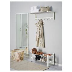 IKEA - TJUSIG, Bench with shoe storage, white, Holds a min. Coordinates with other products in the TJUSIG series. Shoe Storage White, Bench With Shoe Storage, Ikea Storage, Small Storage, Storage Spaces, White Shoe Rack, Ikea Tjusig, Floating Nightstand, Interior Design