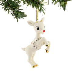 rudolph the red nosed reindeer bisque christmas ornament rudolph shinebright reindeer and sleigh - Rudolph And Friends Christmas Decorations
