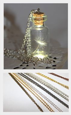 Toucher un cadeau pour quelquun de spécial !  Faire un collier Wish - graine de pissenlit dans une bouteille !  La bouteille a conservé votre un