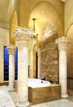 Old World, Gothic, and Victorian Interior Design: August 2013 Tuscan House, Dream Bathrooms, Mediterranean Home, Beautiful Bathtubs, World Decor, Victorian Interior Design, Luxury Bathroom, Beautiful Bathrooms, Interior Design Pictures