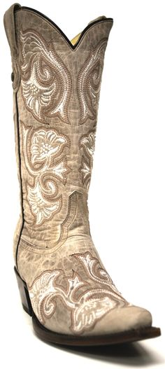 NEW ARRIVALS!  Corral Women's Bone Floral Full Stitch Boots -- Available online and in-store at STT! | southtexastack.com