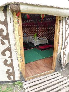 peak inside our dining yurt in the Valley of flowers, Kyrgzystan