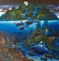 Robert Lyn Nelson  50x50 OIL PAINTING   @robertlynnelson.com #oceanart #orca #moonlight #endangeredspecies